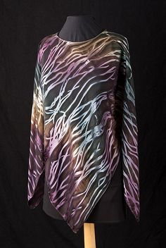 Mallard Handpainted Silk Devore Ponchos: Silk