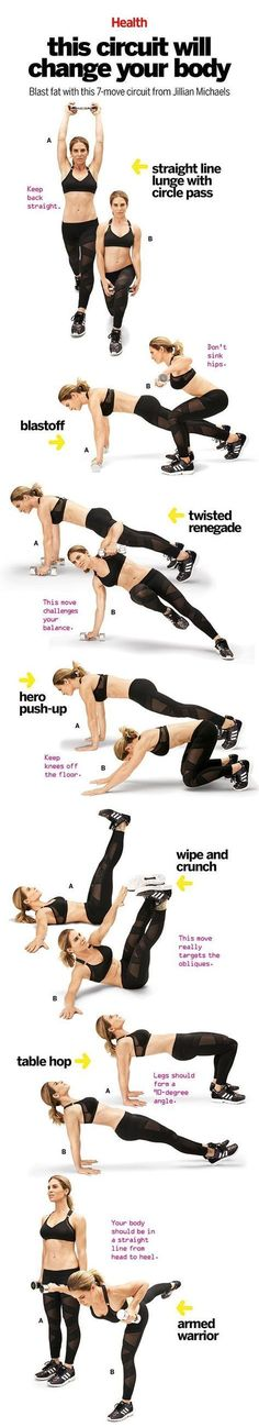 This comprehensive workout, which Jillian Michaels created for Health, trains the muscles in a way that will bust through even the most persistent plateau. Do it four times a week, paired with 20 minu (Fitness Workouts Hiit) Fitness Workouts, Fitness Motivation, Sport Fitness, Yoga Fitness, At Home Workouts, Health Fitness, Muscle Fitness, Motivation Quotes, Fitness Circuit