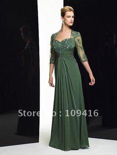 Free shipping 2012 hunter green chiffon long lace sleeve beads mother of the bride dress on AliExpress.com. $156.89