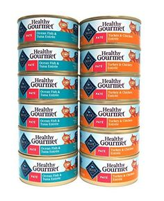 Blue Buffalo Healthy Gourmet Pate Wet Cat Food Variety Pack  2 Flavors Turkey  Chicken Entree and Ocean Fish  Tuna Entree  12 Total Cans 55 oz Each -- You can find out more details at the link of the image.(This is an Amazon affiliate link and I receive a commission for the sales)