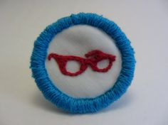 Red Geek Glasses Hand Embroidered Merit Badge-Style Patch