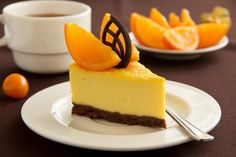 Tarta de queso, naranja y chocolate