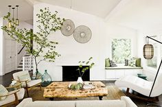 Varied elements also give the living room a textural contrast
