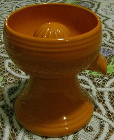 Vintage VHTF 1950's 60's Orange Fiesta Ware hand Juicer (Not Signed)