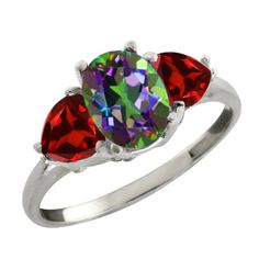 268 Ct Oval Green Mystic Topaz and Red Garnet Sterling Silver Three Stone Ring >>> To view further for this item, visit the image link.Note:It is affiliate link to Amazon.