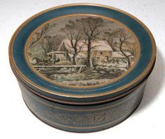 "Vintage Currier Ives OLD Grist MILL 10"" TIN BOX Collectible Winter Scene Nice 