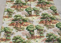 Vintage Barkcloth Fabric Toile Outdoor Scene Gray Peach Green
