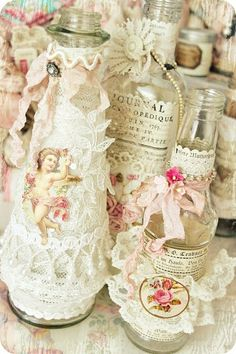 Pretty bottles (good way to use up small scrpas of lace, etc)