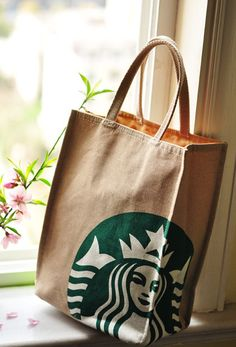 So small... =(  Natural Canvas Tote Bag  Starbucks printed by BeInspire on Etsy, $16.00