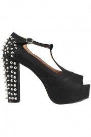 Beaded Spiked Black Heeled Sandals #Romwe