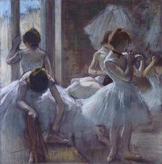 Edgar Degas (French, Post-Impressionism, 1834–1917): Dancers at Rest (Danseuses en repos), 1884-1885. Pastel. 75 x 73 cm. Musée d'Orsay, Paris, France.