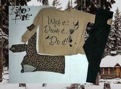 calza negra + sweater en lanillarena wish it + saquito en lanilla animal print