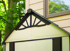 Decorative gable trim on the DSM42 http://www.arrowsheds.com/specialtyproducts/designer/designer-metro-steel-shed.html