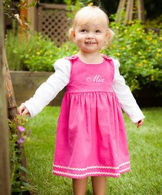 Princess Linens Hot Pink Corduroy Personalized Jumper - Infant, Toddler & Girls by Princess Linens #zulily #zulilyfinds