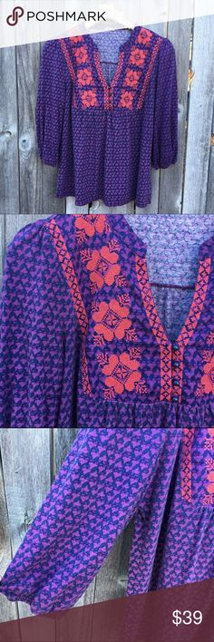 "FOSSIL Purple & Coral Boho Peasant Top XL EUC. Beautiful purple peasant blouse with 3/4 length cinched cuff sleeves. Cozy, cute and classic chic. Bright Coral embroidery detail on collar. 22"" pit to pit, 26"" shoulder to hem length, 18"" sleeve length. Offers warmly welcomed! Fossil Tops"