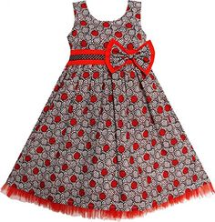 Sunny Fashion Little Girls' Dress Maroon Bow Tie Ruf. African Dresses For Kids, Latest African Fashion Dresses, Little Girl Dresses, Girls Dresses, African Kids, Formal Dresses, Kids Dress Wear, Kids Gown, Baby Dress Design
