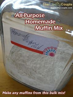 Make any muffins for cheap by making a pre-made homemade all purpose muffin mix! Store it in your pantry and add your mix-in when preparing it and have any muffins available to you at any time!