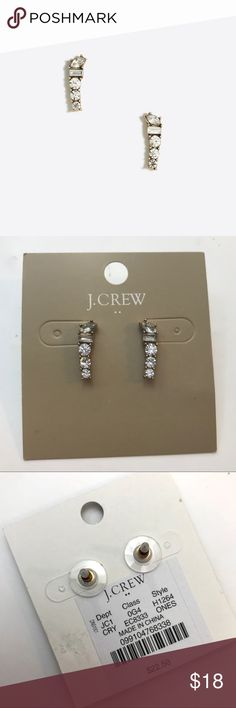 """💎 J. Crew Mixed Crystal Crawler Earrings Stunning yet simple for those who don't like huge earrings, these are the perfect addition to any wardrobe! While you can't see it from the front of the earrings, my favorite J. Crew """"touch"""" is the tiny crystal on the back of the earring next to the brand stamp ❤️ Zinc casting, glass stone. Imitation gold ox plating. Length: 1/4"""" x 1"""". Import. Item H1264. J. Crew Jewelry Earrings"""