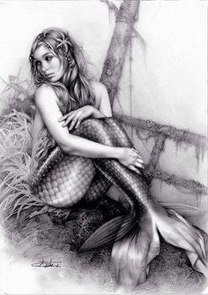 Mermaid black  white drawing art