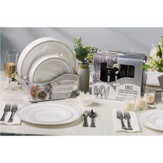 Masterpiece and Reflections Premium Plastic Disposable Dining Set (228 pieces) - Samu0027s Club  sc 1 st  Pinterest & Bulk Wedding Disposable Plastic Plates silverware and wine cups ...