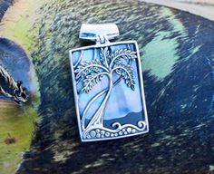 Sterling Silver Palm Tree Pendant with Sunset Shell