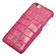 Crocodile Pattern Genuine Real Leather Back Cover Case for iPhone 6/6S 4.7inch - Rose US$13.99