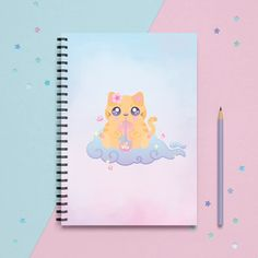 Cute Spiral Notebooks, Cute Notebooks, Cute Journals, Stationary School, Sakura Cherry Blossom, School Items, Lined Page, Cute Illustration, Creative Writing