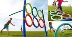 Fun activities for kids: turn inexpensive pool noodles into backyard toys. Among the great outdoor activities for summer Pool Noodle Games, Noodles Games, Pool Noodles, Fun Noodles, Pool Noodle Horse, Fun Games, Party Games, Activities For Kids, Olympic Games For Kids