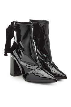 0fa6c692f7701 Patent Leather Ankle Boots with Ribbons