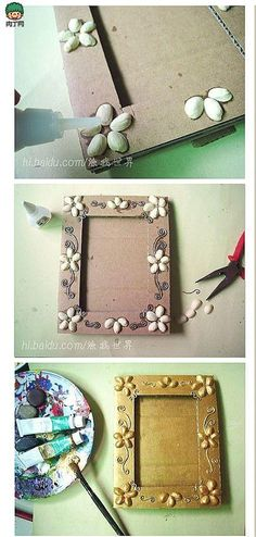 """I like this one a lot. I think the """"flowers"""" are super cute. ...also, it looks like the frame is made from cardboard - good idea to keep costs down. could cover a cardboard frame with newspapaer and paint it. maybe spray paint it all after the pistacios are on? DIY Pistachios Skin Picture Frame DIY Pistachios Skin Picture Frame"""