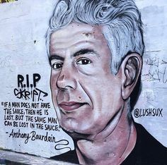 Street art portrait of Anthony Bourdain Master Chef, Melbourne Laneways, Street Art Love, Outdoor Art, Graffiti Art, Quotations, Things To Think About, Art Gallery, Memories