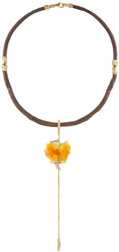 """Thierry Vendome """"Vesuvio"""" necklace. Complicit in itself, nature has selected for this reversible pendant necklace mix of rust, gold, opal and diamond volcanic graphics. More than a single room, Vesuvio is a journey to the center of the earth."""