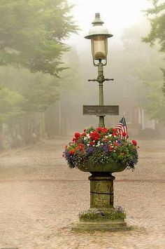 Prime example of nantucket fog on Main Street. Nothing is more beautiful then seeing nantucket fog before noontime. Nantucket Island, Nantucket Wedding, Nantucket Style, Street Lamp, Main Street, Cape Cod, The Hamptons, New England, Lanterns