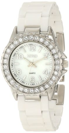 XOXO Women's XO2009 Swarovski Crystal Accented Silver-Tone White Ceramic Bracelet Watch: Watches: Amazon.com