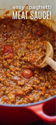 Spaghetti Meat Sauce is beefy, juicy and so satisfying. This Meat Sauce recipe comes together fast - perfect for busy weeknights, and freezer friendly. Pasta Sauce Recipes, Spaghetti Recipes, Meat Recipes, Gourmet Recipes, Cooking Recipes, Homemade Spaghetti, Pasta Sauces, Salad Recipes, Healthy Recipes