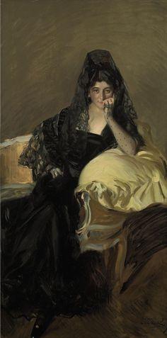 Retrato de Señora de Urcola llevaba una mantilla de negro (Joaquin Sorolla y Bastida - 1909)