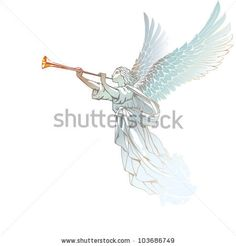 Raster version of vector/ White Angel with trumpet - on a white background