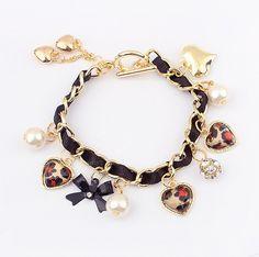 Fashion Bowknot and Heart Shaped Pendant Women's Leather Chain Alloy BraceletBracelets | RoseGal.com