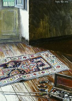 A corner of my studio with an #oriental #carpet. 2002.