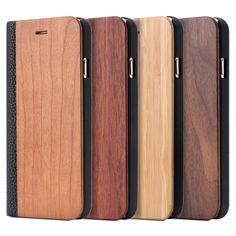 Retro de cuero de lujo + de bambú de madera del caso del tirón para apple iphone 6 6 s plus para iphone 7 moda ranura para tarjeta monedero litchi bolsos de la cubierta
