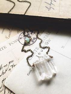 M o o n r i s e...Raw crystal quartz points, mystic labradorite, chrysoprase, brass layering necklace by CrowandIris
