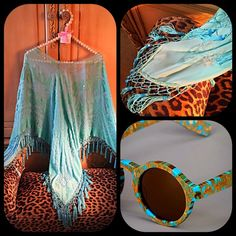 "Stunning turquoise chiffon, velvet beaded poncho Stunning turquoise chiffon, velvet and beaded poncho.  What a stunning piece that is versatile in use as semi-formal or casual wear.  The base of the poncho is chiffon fabric covered in turquoise velvet floral designs and turquoise and beads.  It has a round neckline trimmed at the bottom with approximately 60 hanging beaded tassels.  Measures 31"" long and 57"" wide.  One size fits most.  Professionally pressed and ready to wear.  Fabulous…"