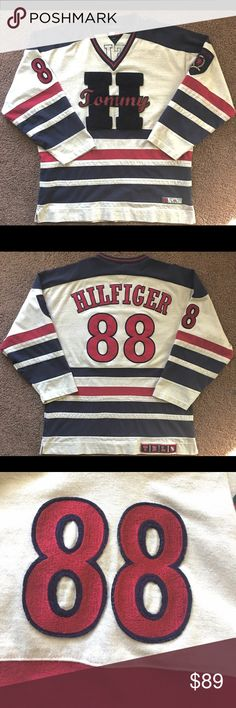 ❗️Weekend Sale❗️Tommy Hilfiger Hockey Jersey Vntg. Rare Vintage Tommy Hilfiger Hockey Jersey •High quality stitched logos on chest back and sleeves •100% Authentic •shipped with care •smoke free, pet free special weekend pricing Tommy Hilfiger Sweaters V-Neck