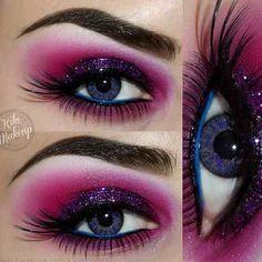 Pink and purple #vibrant #smokey #bold #eye #makeup #eyes