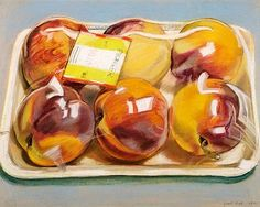 From 1971, by Janet Fish. She uses pastels to create this great drawing of peaches. The highlights make it possible to visualize the clear wrapping over the fruit.