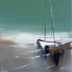 Les deux voiliers... - Painting, 20x2x20 cm ©2015 by Olivier Messas - Contemporary painting, Canvas, Sailboat, sailing, segel, voile, voilier, mer, bleu, sail, blue, paysage