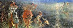 Malczewski Jacek: Topielec w uściskach dziwożony, obraz z cyklu Rusałki