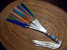 Beautiful Beaded Mixed Macaw Peyote Prayer Fan - Native American Made