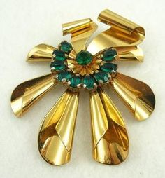 Huge Gold Plated Retro Ribbon Brooch - Garden Party Collection Vintage Jewelry
