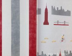 coordone-blanca gomez. papel pintado Nueva York rojo oscuro combinado con papel rayas (telas & papel y el mundodelpapelpintado)